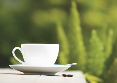 Kaffeetasse vor Zypressen
