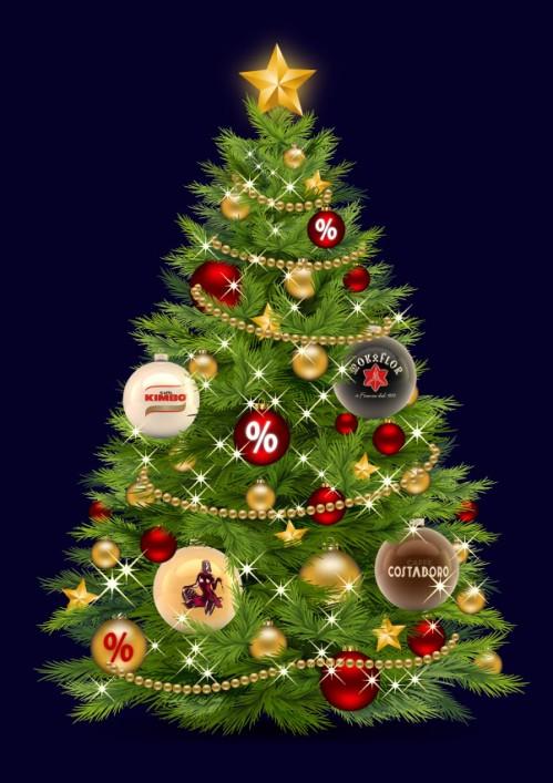 Christbaumkugeln mit Rösterlogos am Weihnachtsbaum - Newsletter Dezember 2012