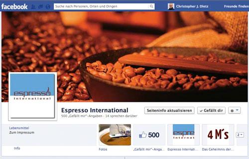 500 Fans bei Facebook für Espresso International