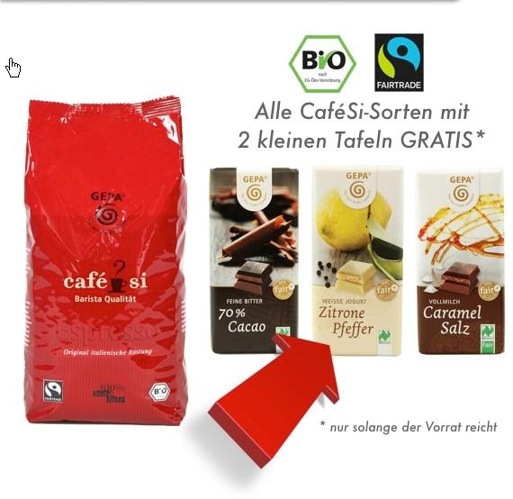 Biokaffee mit Bioschokolade Gratis