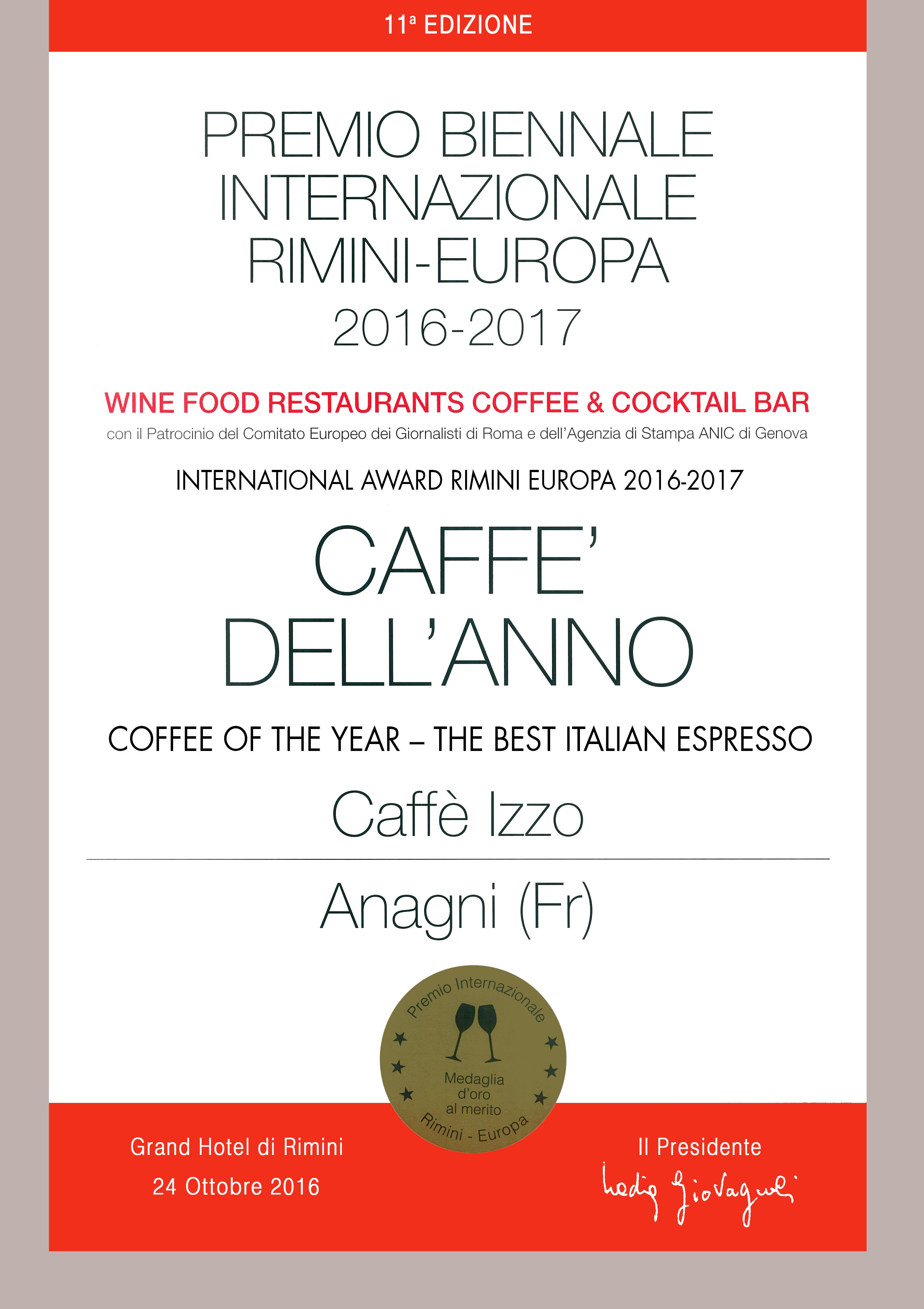 Izzo Kaffee gewinnt auf dem International Award in Rimini