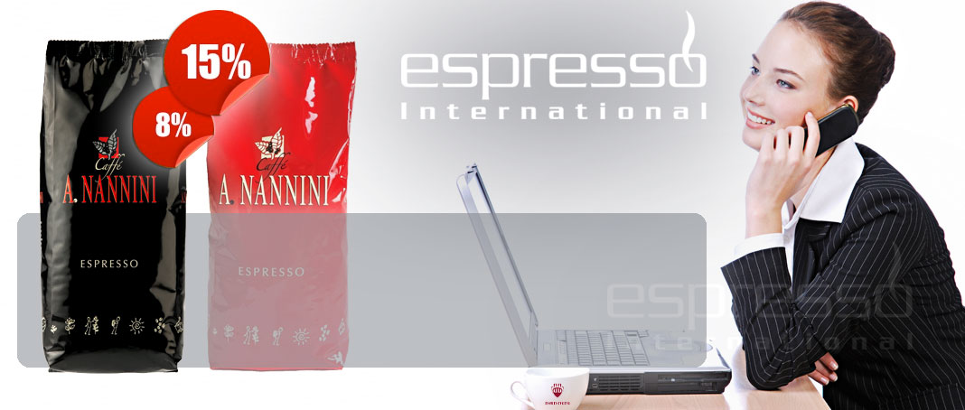 nannini kaffee g nstig kaufen in der r sterwoche bei espresso international espresso kaffee. Black Bedroom Furniture Sets. Home Design Ideas