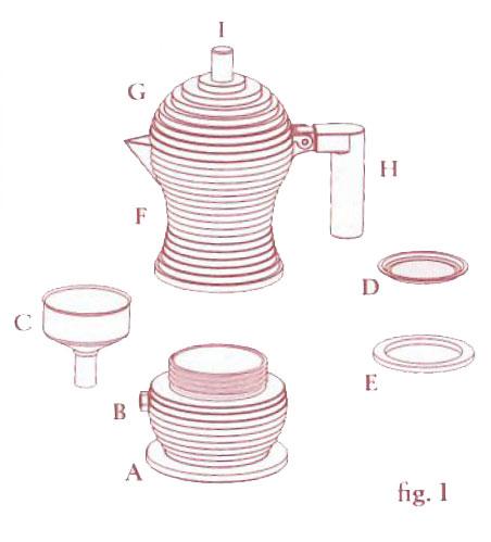 Espressokanne Pulcina Figur-1- besteht aus den Teilen A-I